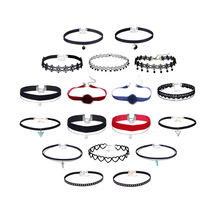 18 Pcs Choker Necklace Set Women Fashion Trend Collar Necklaces Black Red Ball Fur Chokers Charms Flower Beads Adjustable ABS598