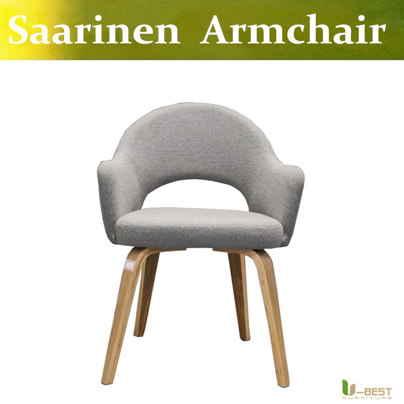 Free Shipping U BEST Living Room Relax Saarinen Knoll Dining Chair With Wood Legs Leather Chairs Arms