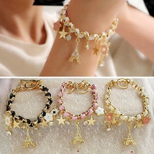 Fashion Bracelets For Women 2016 New Handmade Bracelet Crystal Brand Rhinestone Star Eiffel Tower Fro Girl Women Gift H6857 P45