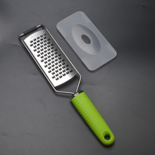 Free shipping Stainless Steel Kitchen Vegetables Cheese Zester Microplane Grater Lemon/Cheese Zester With Green TPR handle(China)