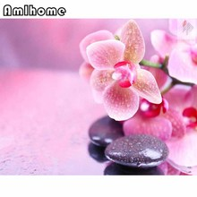 AMLHOME NEW 5D DIY Diamond Painting Stone Orchid Crystal Diamond Painting Cross Stitch Flower Needlework Home Decorative HC1563