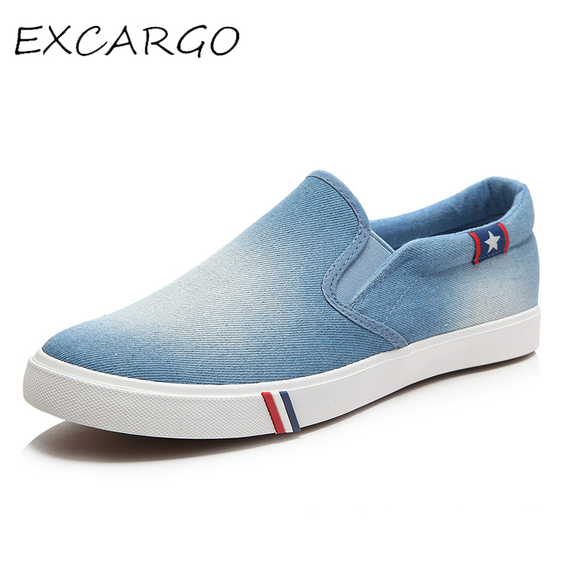 EXCARGO Canvas Shoes Sneakers Men Shoes Slip On 2019 Summer Fashion Shallow Casual Shoes For Men Denim Blue Sneakers For Men
