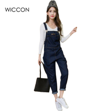 Denim Rompers Womens Jumpsuit Jeans Overalls Elegant Suspender Denim Overalls Women Slim Elegant Sexy Jumpsuit 2017 WICCON(China)