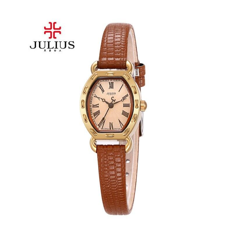 2017 Julius Watch Women Tonneau dial design Gold Alloy Case Rome digital Leather Quartz Ladies Watches Relogio Feminino Clock<br><br>Aliexpress