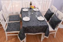 Modern Rustic Style Leaves Print Dining Table Decoration Fashion Gray Based Cotton Tablecloths Elegant Kitchen Table Cloths