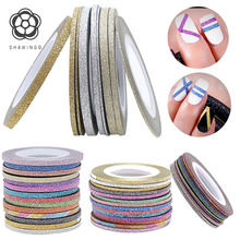 Nail Art Decoration 3D Striping Tape Line Uv Gel Polish Mixed Colorful Metallic Yarn Sticker Decal Manicure Tool