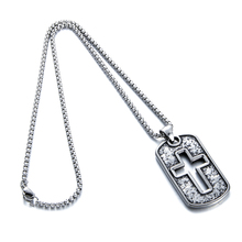 Men's Fashion Jewelry 316l Stainless Steel Vintage Hollow Cross Tag Pendant Necklace Punk Jewelry with 60cm Chain(China)