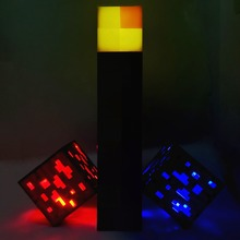 Minecraft Light Up Torch LED Action Figure Toys Wall Lamp Hand Held Wall Mount Redstone Ore Square Room Decoration for kids#NA