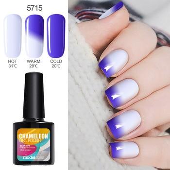 Modelones 10ML Thermo UV Nail Gel Polish Temperature Change Color UV Nail Polish Long Lasting Led Nail Paint Chameleon Varnish