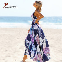Buy Boho Navy Blue Floral Deep V Neck Summer Dress Women Halter Maxi Long Beach Dresses Sexy Corss Bandage Backless Vestidos 2018