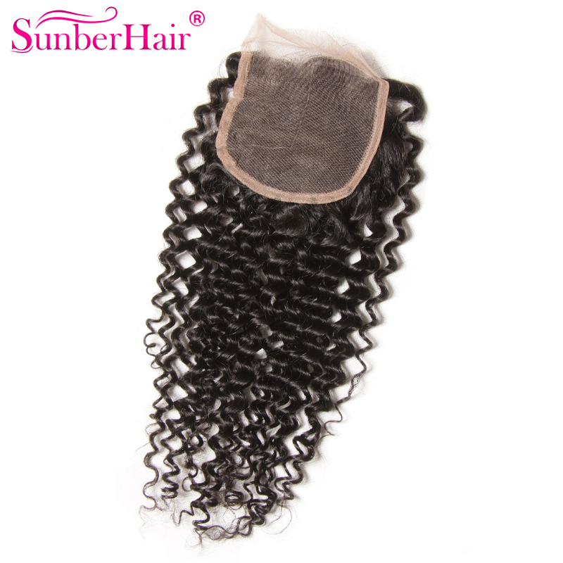 Sunber Brazilian Lace Closure 7A Brazilian Jerry Curl Human Hair Closure Virgin Brazilian Curly Hair Closure Middle/Free Part<br><br>Aliexpress