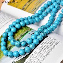 GraceAngie Natural Round Tiny Small Spacer Seed Blue Turquoises Beads For Jewelry Making 4-12mm 15inches DIY Jewellery Supplier(China)