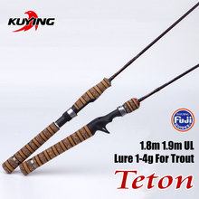 KUYING Teton UL Ultra-light Soft Fishing Rod 1.8m 1.9m Lure Carbon Casting Spinning Cane Pole FUJI Parts Medium Action For Trout(China)