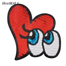 Hoomall 1PC Patches Hot Iron On Sequin Applique On Clothes Handmade Sewing Accessories Fabric Dress Ornaments Badges
