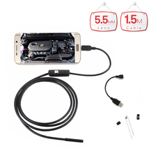 5.5mm Lens Waterproof Endoscope Android Camera 1.5m Cable 6LED USB Android Endoscope Camera Snake Pipe Inspection Borescope Cam