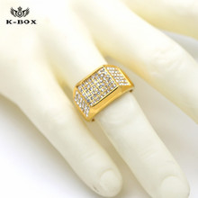 12mm  24k Gold Band Men's Micropave CZ AAA Crystal Hip Hop Bling Iced Out Pinky Ring Size 9/10/11/12 K-BOX Jewelry