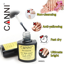 #40601 CANNI Non Cleansing Top Coat Without Sticky Layer 7.3ml No Wipe Top Coat Nail Bueaty UV Gel Polish(China)