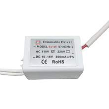 LED Dimmable Driver Input AC110v Output DC156-18V 300mA  5X1W  Power Supply for Led