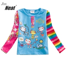 NEAT 2017 new spring and autumn long-sleeved girl children's clothing cartoon printing cute little kitten baby girl shirt  L326