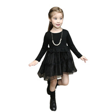 Fashion Black Girls Dresses Long Sleeve Spring Autumn Children Clothing Kids Princess Dresses for Party School Toddler Costume(China)