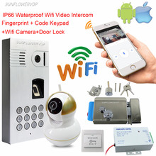Fingerprint Door Camera IP66 Waterproof Wifi Wireless Camera Doorbell Wireless Video Intercom + Wifi Network Camera With Lock(China)