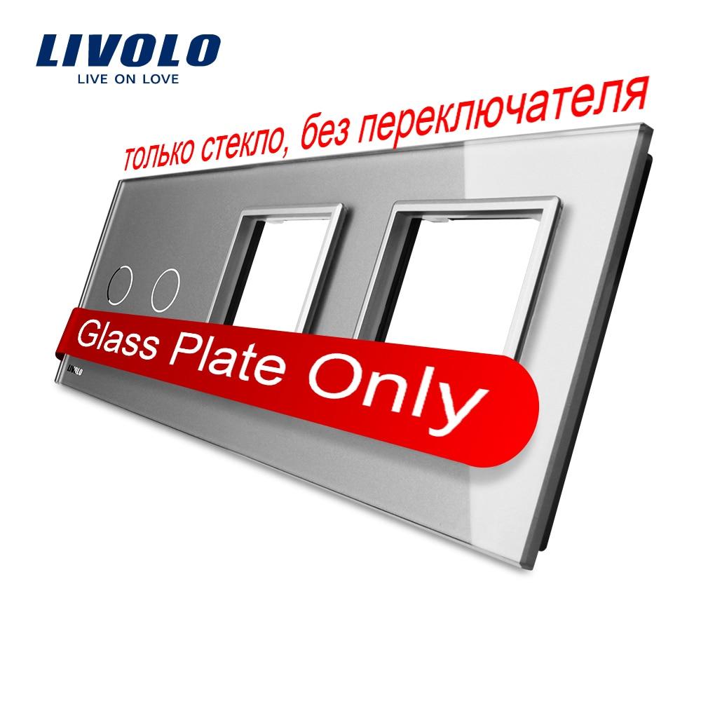 Free Shipping, Livolo Grey  Color Crystal Glass, 223mm*80mm, EU standard, 2Gang &amp;2 Frame Glass Panel, VL-C7-C2/SR/SR-15<br><br>Aliexpress