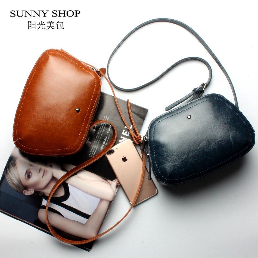 SUNNY SHOP Brand Designer Mini Women Bag High Quality Genuine Leather Shoulder Bags Spring Small Casual Handbag Brown Blue Color<br>