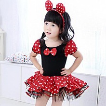 2017 New Girls Dress Summer Retail Mouse Dress Mini Mouse Costume Ballet Tutu Dress+Ear 1-10Y girls party Gifts dresses