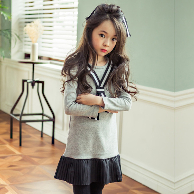 2017 NEW spring Kids Girls dress patchwork girls princess Baby girl clothes elza Children costume Girls clothing 4-12T<br><br>Aliexpress