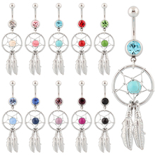 Belly button ring Body piercing Jewelry Dangle Dream Catcher Crystal Gem 14G Surgical Steel Nickel free 10 colors Free shipping(China)
