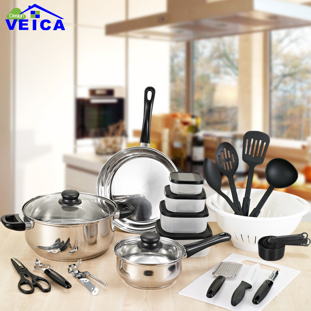 Hot Sale 35 Pieces Stainless steel Cooking Pots With Double Side Frying Pan Hot Pot And Pans Cookware Set(China)