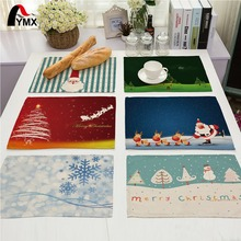Creative Christmas Tree Printed Linen Table Napkins Dinner Wedding Party Merry Christmas Table Napkins Cloth Deer Santa Claus