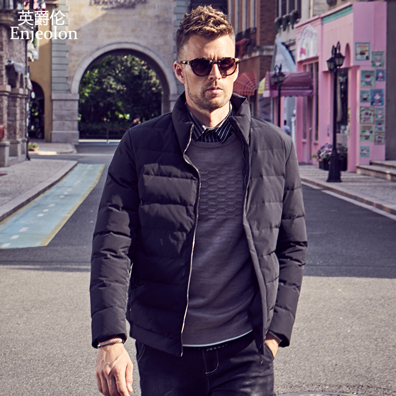 Enjeolon brand winter thick winter down jacket men light parka coat male warm parka coat 3XL down parka YR921