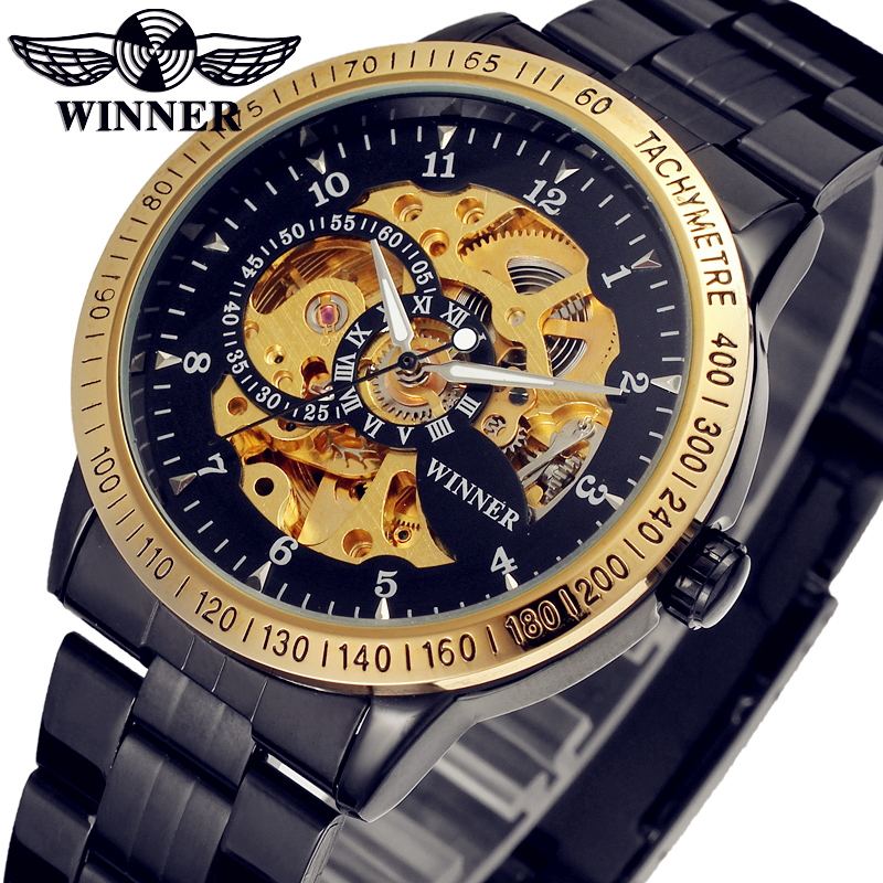 WINNER Men Luxury Brand Stainless Steel Skeleton Retro Classic Watch Automatic Mechanical Wristwatches Gift Box Relogio Releges<br>