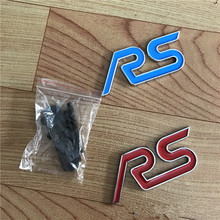 5X Metal Styling Red Blue RS Chrome Car Emblem Badge Auto Grille Emblem for Ford Focus ST Mondeo