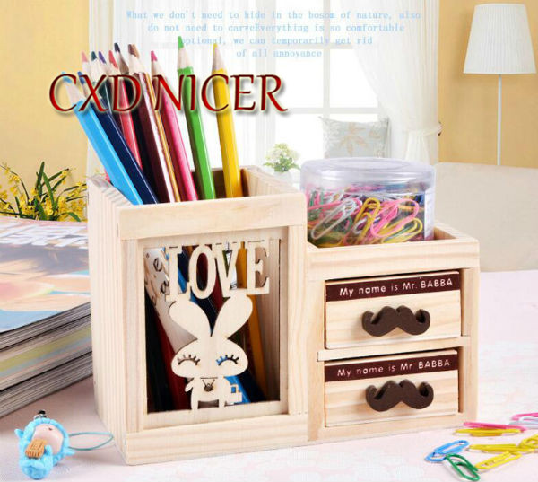 Fashion Tower Beard Desktop Hollow Wooden Pen Holder Office Stationary Supplies Accessories Double Drawer Pencil Holder Dd252 1