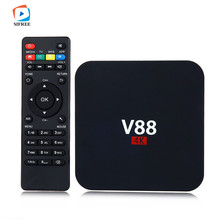 1PCS V88 4K Android 6.0 Smart TV Box Rockchip 1G/8G 4 USB 4K 2K WiFi Full Loaded Quad Core 1.5GHZ Media Player PK X96 High