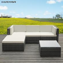 iKayaa Fashion PE Rattan Wicker Patio Garden Furniture Sofa Set Cushions Outdoor Corner Sofa Couch Table Set DE Stock
