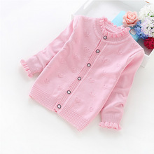 2016 new spring and autumn girls' sweaters 2-6 years children cardigans cotton sweaters Y1616