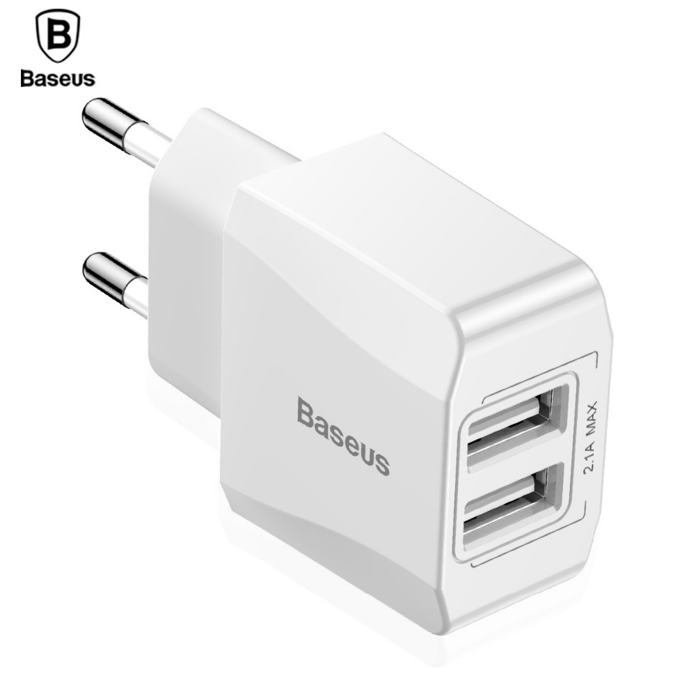 Baseus Mini Universal Dual USB Charger iPhone X 8 7 Adapter Travel Wall Mobile Phone Charger EU Plug Adapter Samsung S8