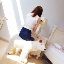 Fancytrader Ride on Polar Bear Plush Toy Emulated White Bears Animals Kids Doll Could Load 50kg on the Back(China)