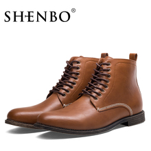 SHENBO Brand New Arrival Fashion Men Boots, High Quality Brown Men Ankle Boots(China)