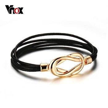 Vnox múltiples capas de cuero negro pulsera brazalete chapado en oro de joyería de moda para chica