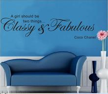 """A girl should be classy and fabulous"" English famous quote emovable Vinyl wall decals quote sticker for girls room wall decor"