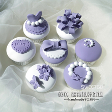 Free shipping! Set of 7pcs Purple Simulation Fondant Cake/Cupcake model, Artificial Cakes for Window display/Photography props~~