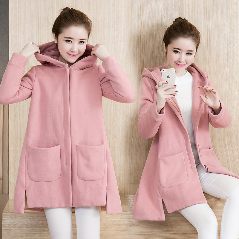 Thick Warm Fashion Korea Style Casual Maternity Hoodies for Pregnant Coat with Wool Design for Pregnance Wear In Autumn Winter<br>