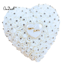 Wedding Favors Hang Ring Pillow With Transprent Box Heart Design with Rhinestone And Pearl decor Wedding Ring Cushion Decoration(China)