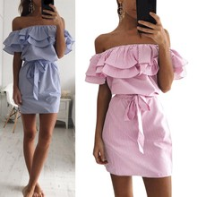 2017 Newest Summer Women Ladies Casual Beach Mini Soft Dresses Ruffle Off Shoulder Party Cocktail Ball Gown Clubwear Dress
