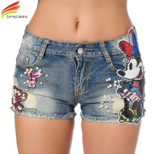Summer 2017 Women Short Jeans Casual Embroidered Flare Denim Shorts Fashion High Waisted Jeans Shorts Sexy Sequin Cartoon Shorts(China)