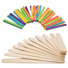 50pcs/lot Wooden Popsicle Stick Kids Hand Crafts Art Ice Cream Lolly Cake DIY Puzzle Making Funny Children Learning Toys Gift(China)